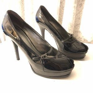 Guess Black Peep Toe Stiletto Heels